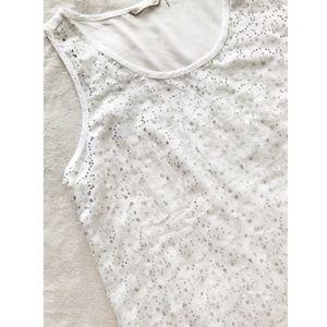 Womans White seqiun dress tank top shear on back